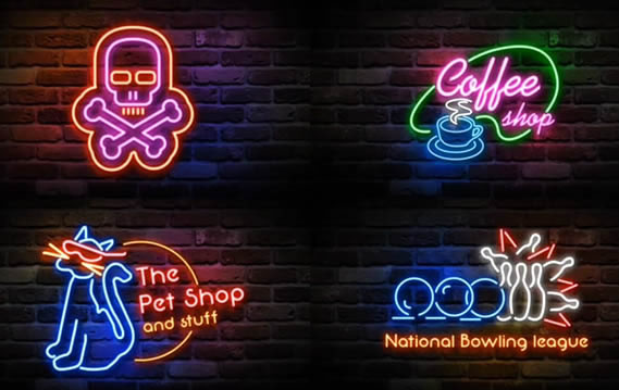 AE模板:创意霓虹灯演绎企业图形标志展示模板