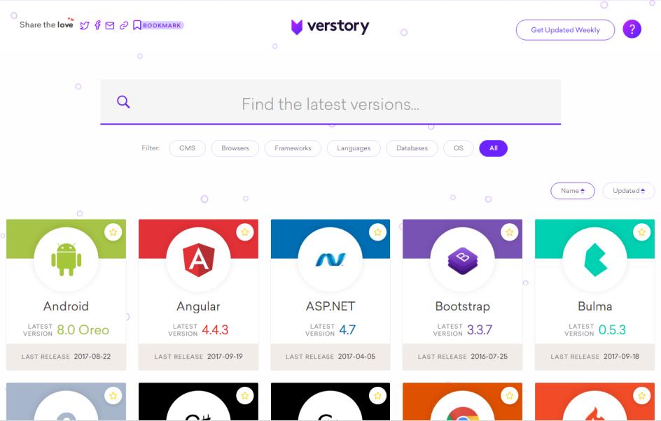 查询各种开发框架、程序语言、CMS等最新版本的网站 Verstory