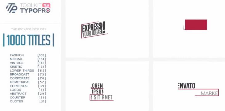 1000种个性创意文字标题排版动画包 Typopro-Typography Pack