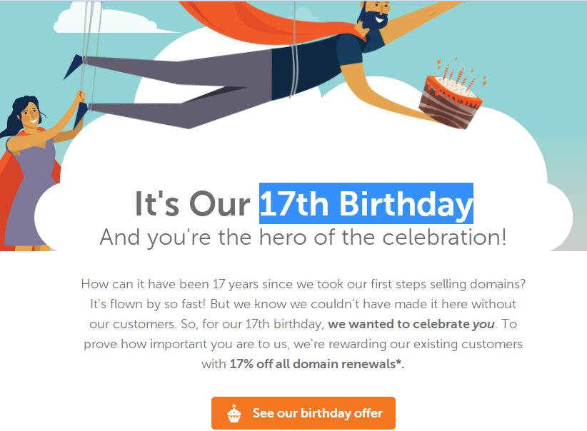 Namecheap 17岁生日 续费域名优惠17%