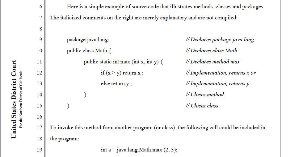 Alsup 法官 2012 年在甲骨文诉谷歌案意见中的代码样例