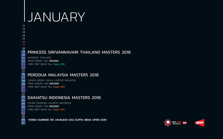 BWF Tournaments Calendar 2018 01 January