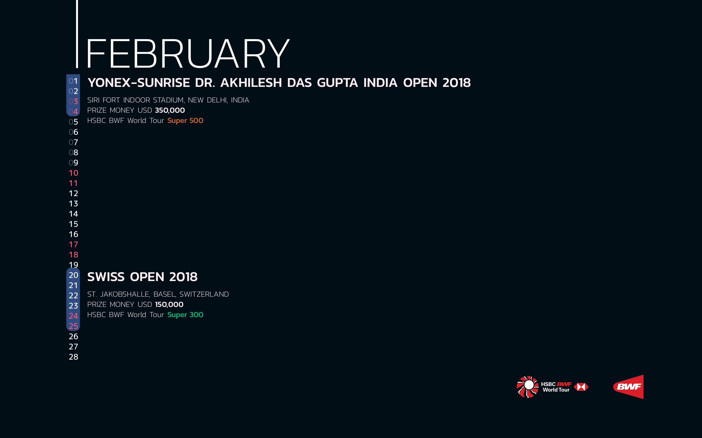 BWF Tournaments Calendar 2018 02 Febuary