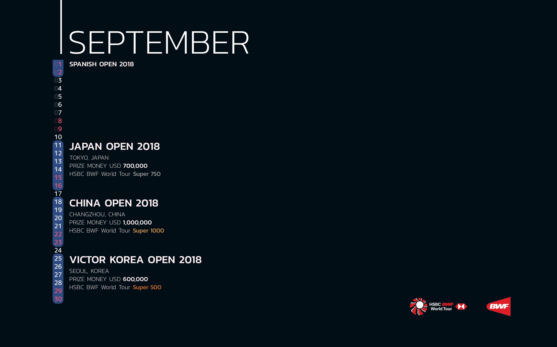 BWF Tournaments Calendar 2018 09 September