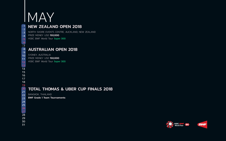 BWF Tournaments Calendar 2018 05 May