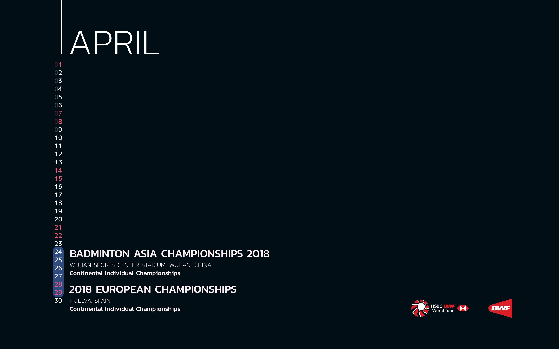 BWF Tournaments Calendar 2018 04 April