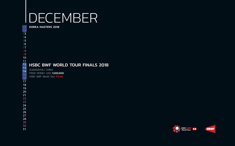 BWF Tournaments Calendar 2018 12 December