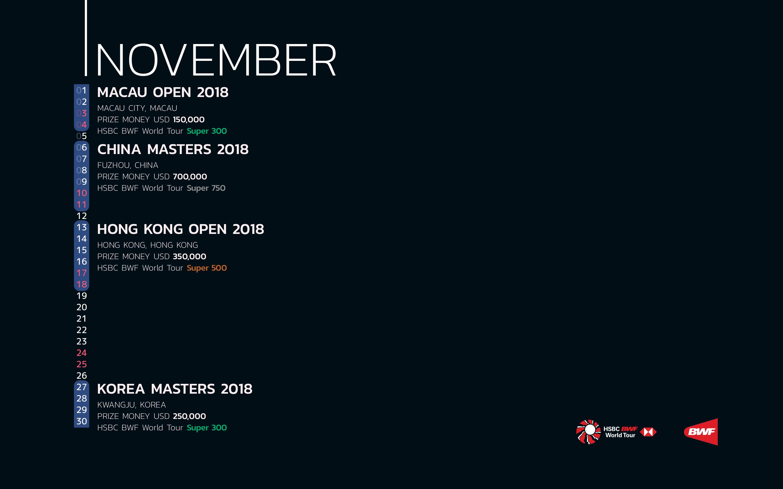 BWF Tournaments Calendar 2018 11 November