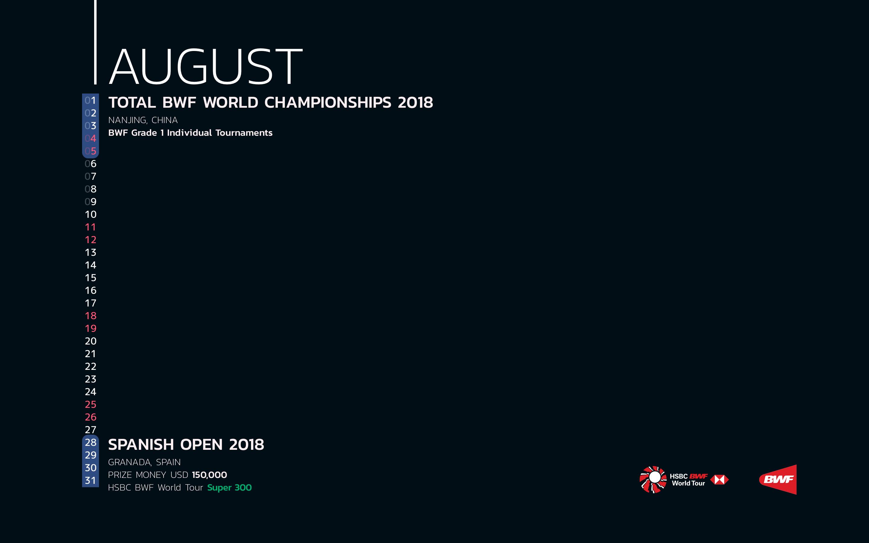 BWF Tournaments Calendar 2018 08 August
