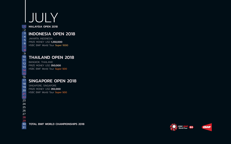 BWF Tournaments Calendar 2018 07 July