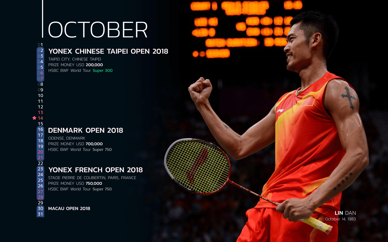 BWF Tournaments Calendar 2018 Players 10 Lin Dan-min