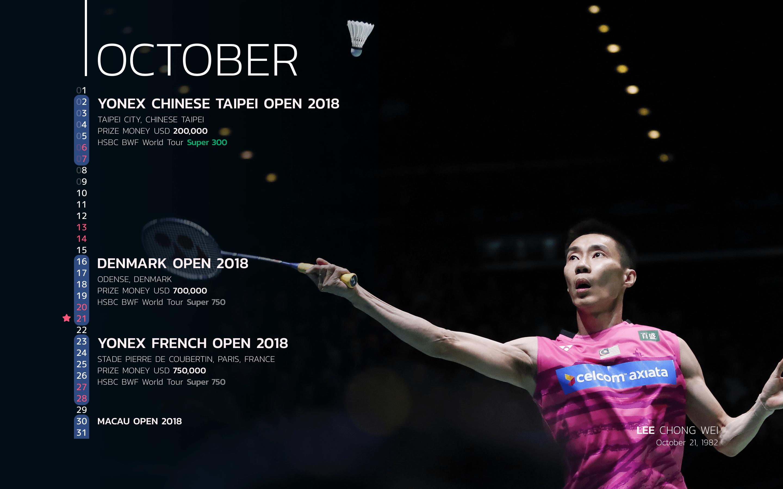 BWF Tournaments Calendar 2018 Players 10 Lee Chong Wei-min