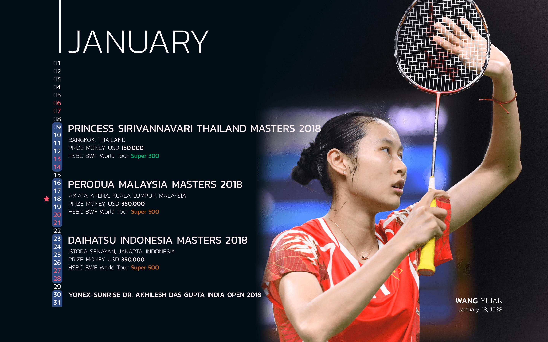 BWF Tournaments Calendar 2018 Players 01 Wang Yihan-min