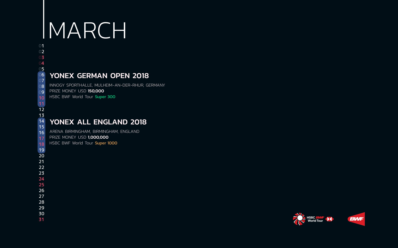 BWF Tournaments Calendar 2018 03 March