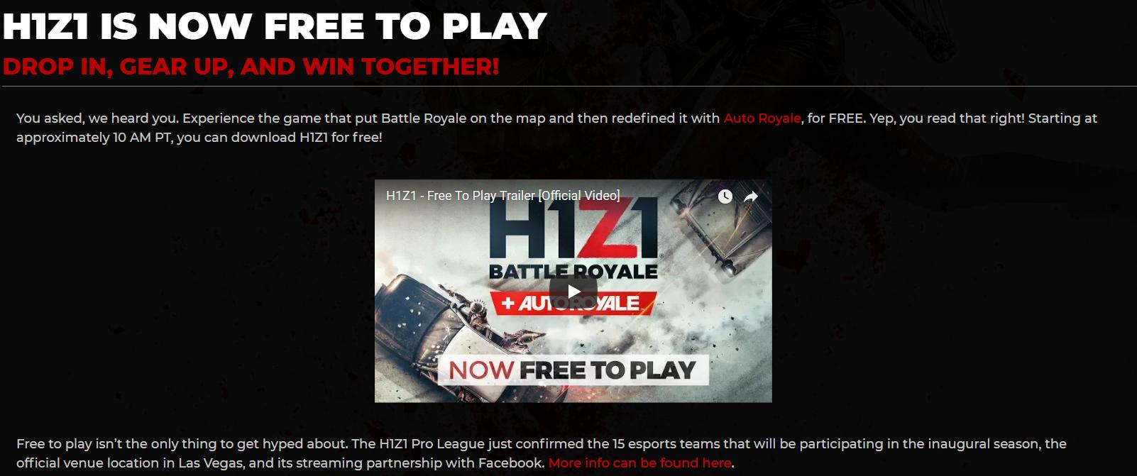 大逃杀《H1Z1》现已变为免费游戏