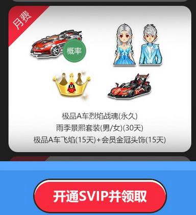QQ飞车4月qq会员在线活动 永久时装、赛车免费领取
