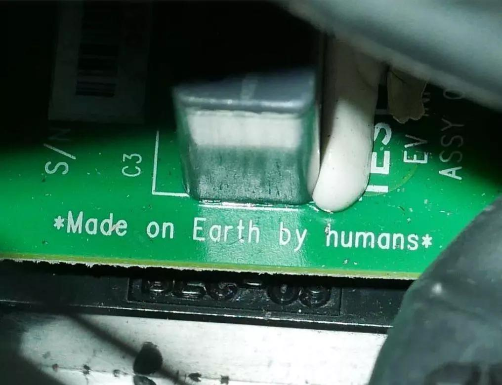 Printed on the circuit board of a car in deep space