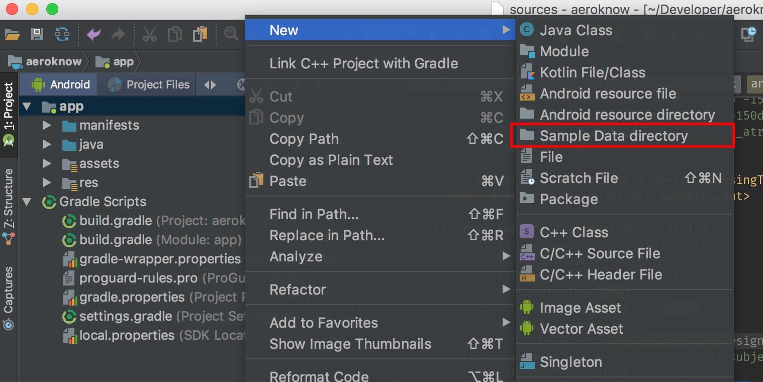 create sample data folder