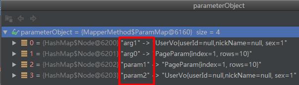 没有有@Param注解时的参数