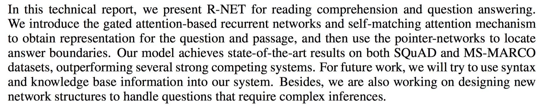 R-NET conclusion