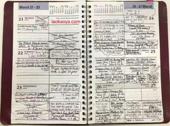 看看别人家的哈佛大学的学生是怎么安排一周的