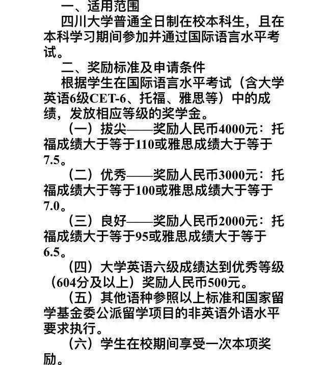 四川大学雅思报销