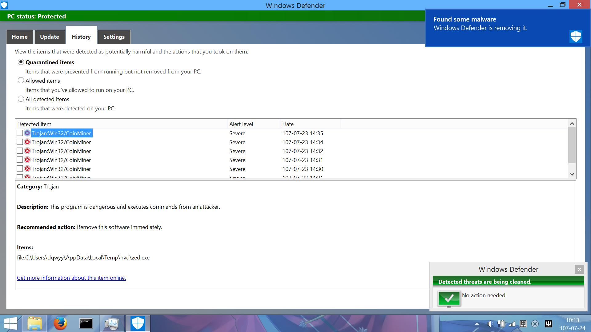 Detected by Windows Defender