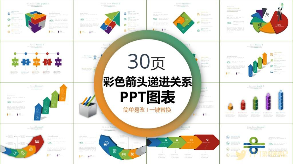递进关系-商务逻辑图表PPT模板免费下载