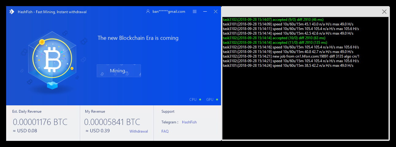 Automatic Crypto Mining] [Windows] [GPU/CPU] [NVIDIA/AMD] HashFish Miner