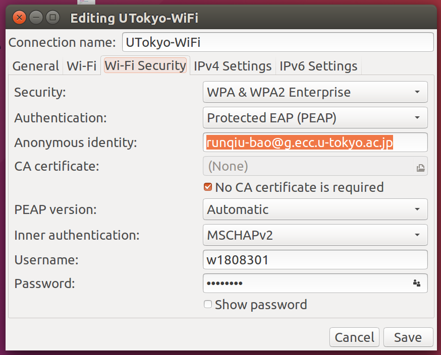 How to connect UTokyo-wifi in Ubuntu - Hello, I'm Runqiu BAO