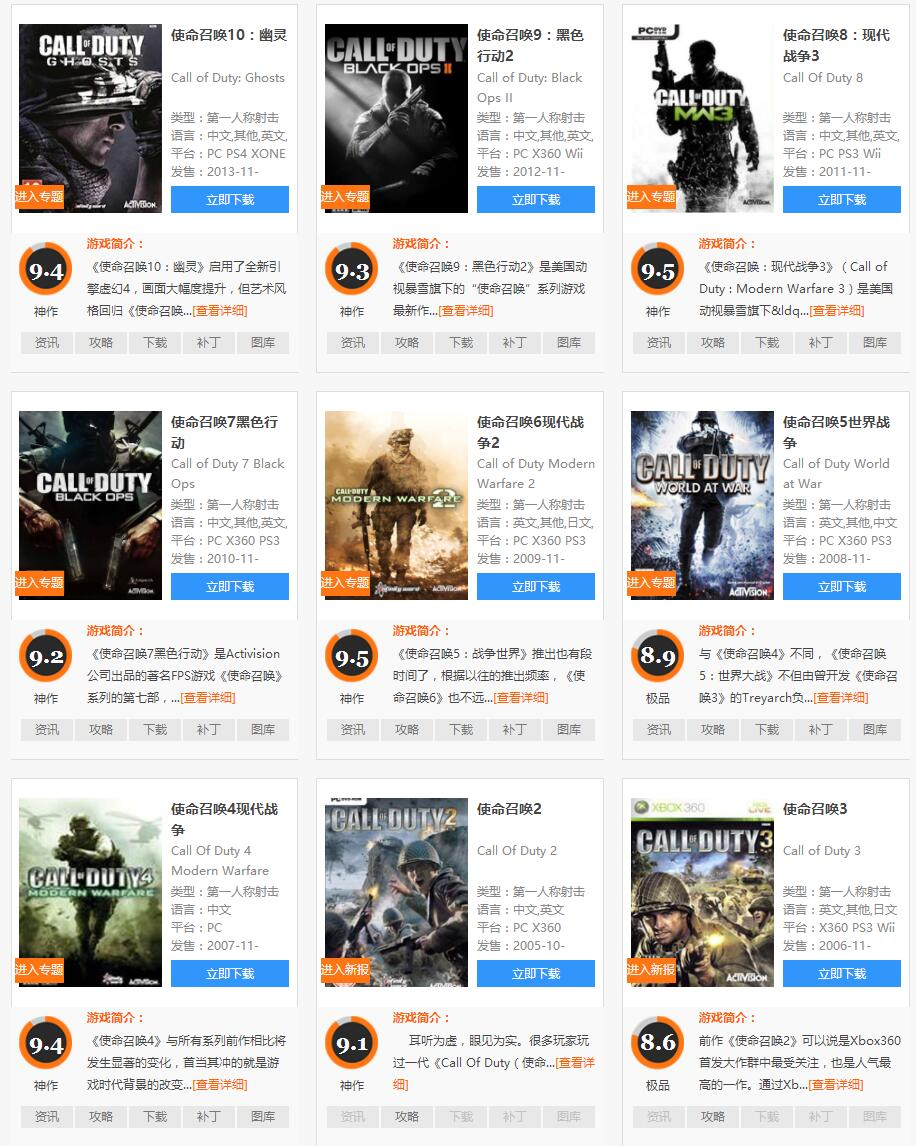 『电脑游戏』使命召唤1-13系列,免安装汉化版,评分都超高平均都在9分左右(全系列游戏大小273.96G)