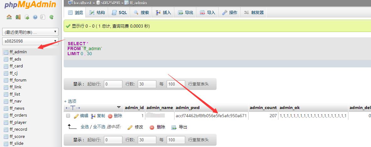 网站后台管理员密码忘了可数据库进行修改!