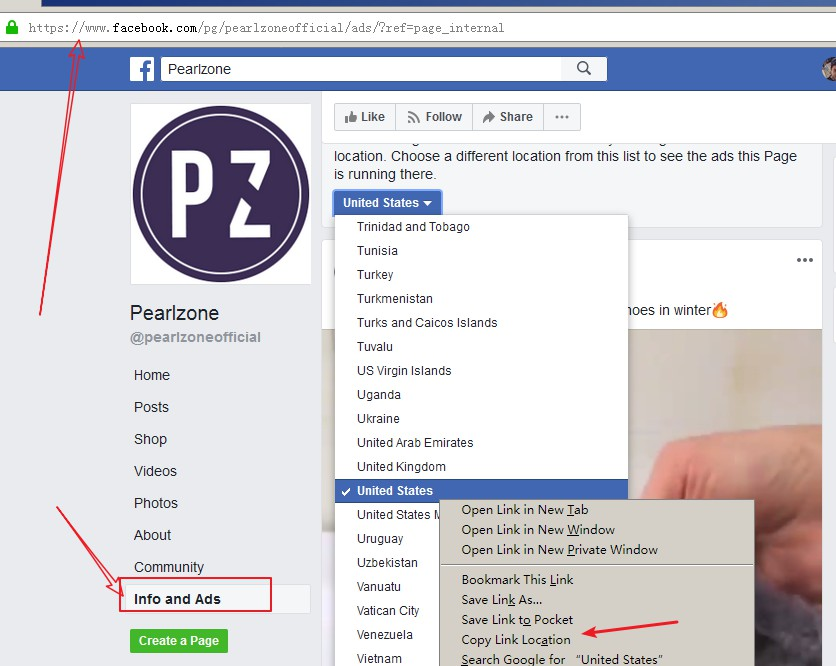 find facebook page ads