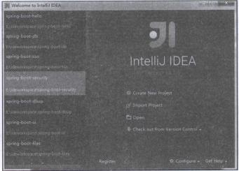 图1-1 InterlliJ IDEA欢迎界面
