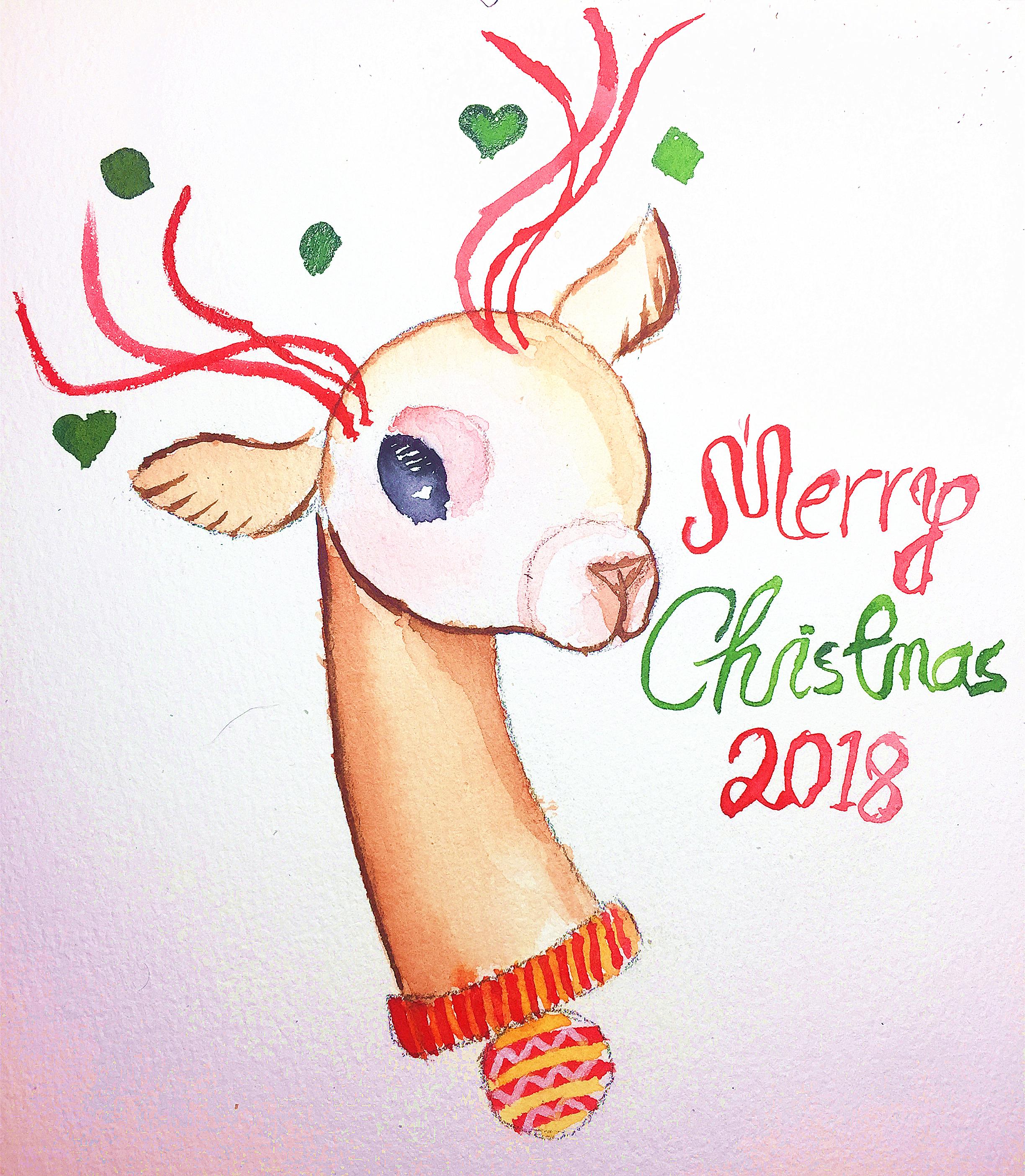 水彩画作品 – 圣诞小鹿