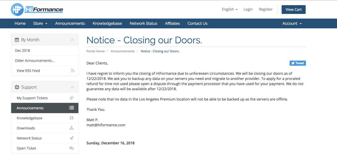 [资讯]Hiformance 官方宣布关门跑路,请及时备份数据并申请退款