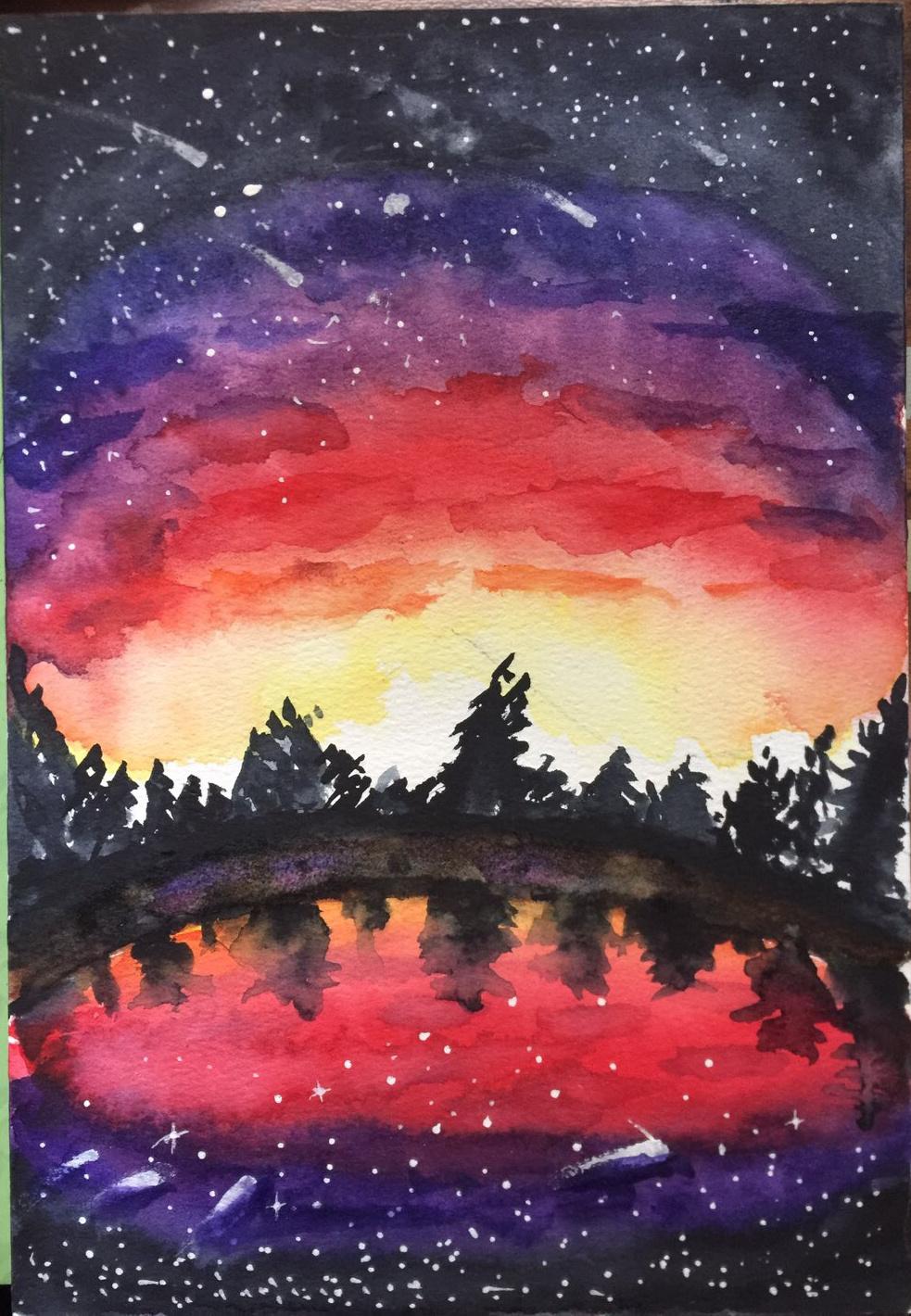 水彩画作品 – 黄昏湖岸