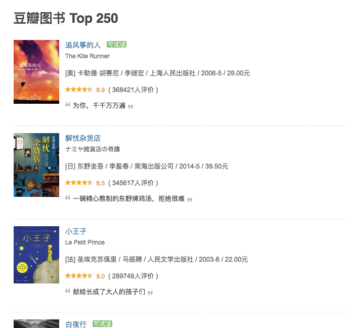 豆瓣读书top250 epub格式电子书下载