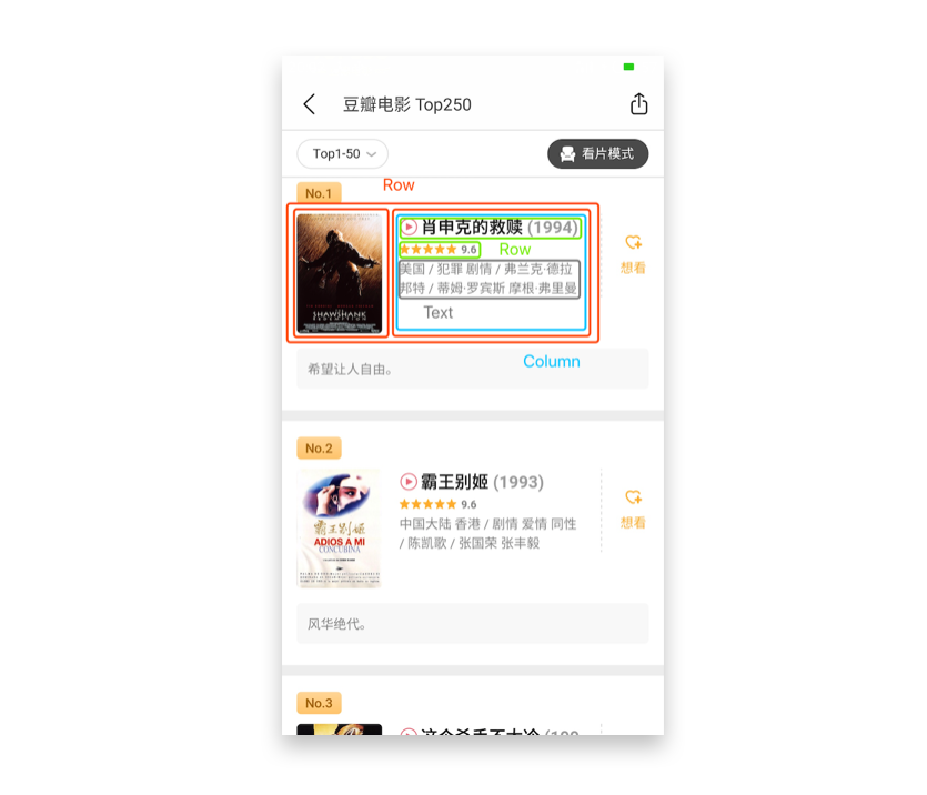 豆瓣电影 Top250 App 页面布局分析