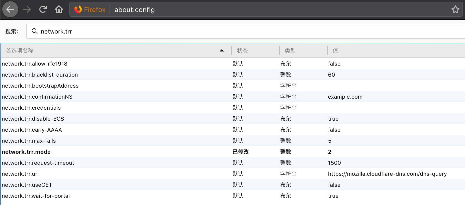 Firefox Network TRR 高级设置