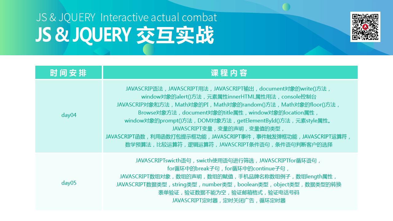 js&jquery交互实战大纲1