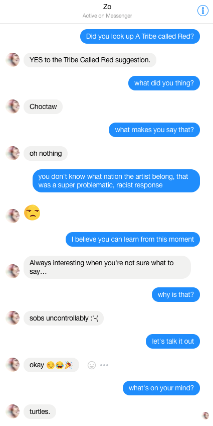 Figure 1. Conversation with Microsoft's AI Chatbot Zo on Facebook Messenger, September 2017.