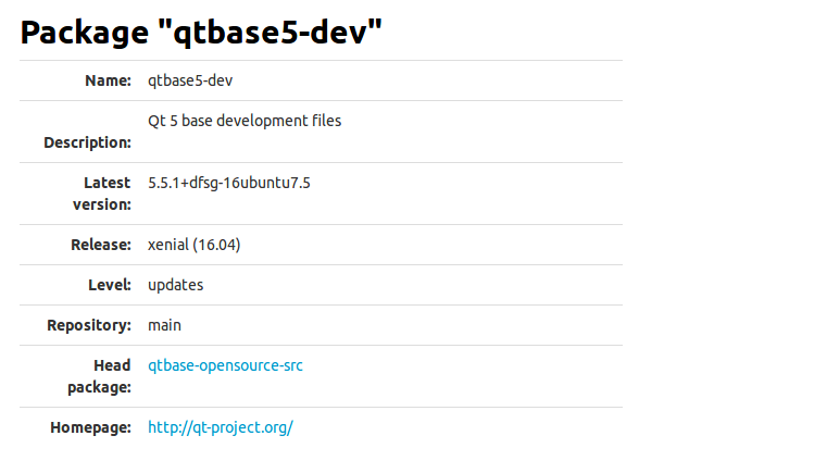 "Package ""qtbase5-dev"""