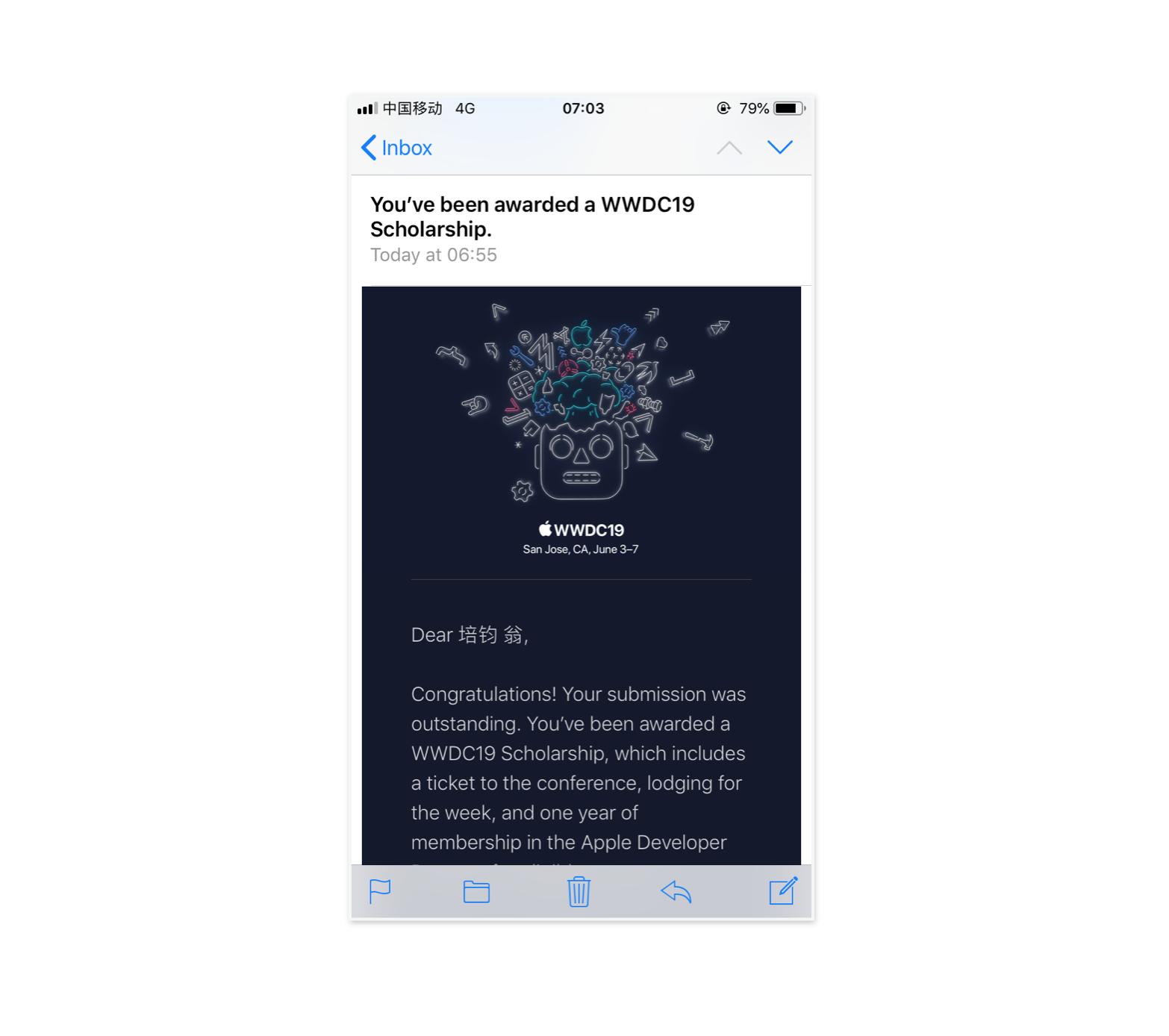 WWDC19 Schoolarship 获奖邮件