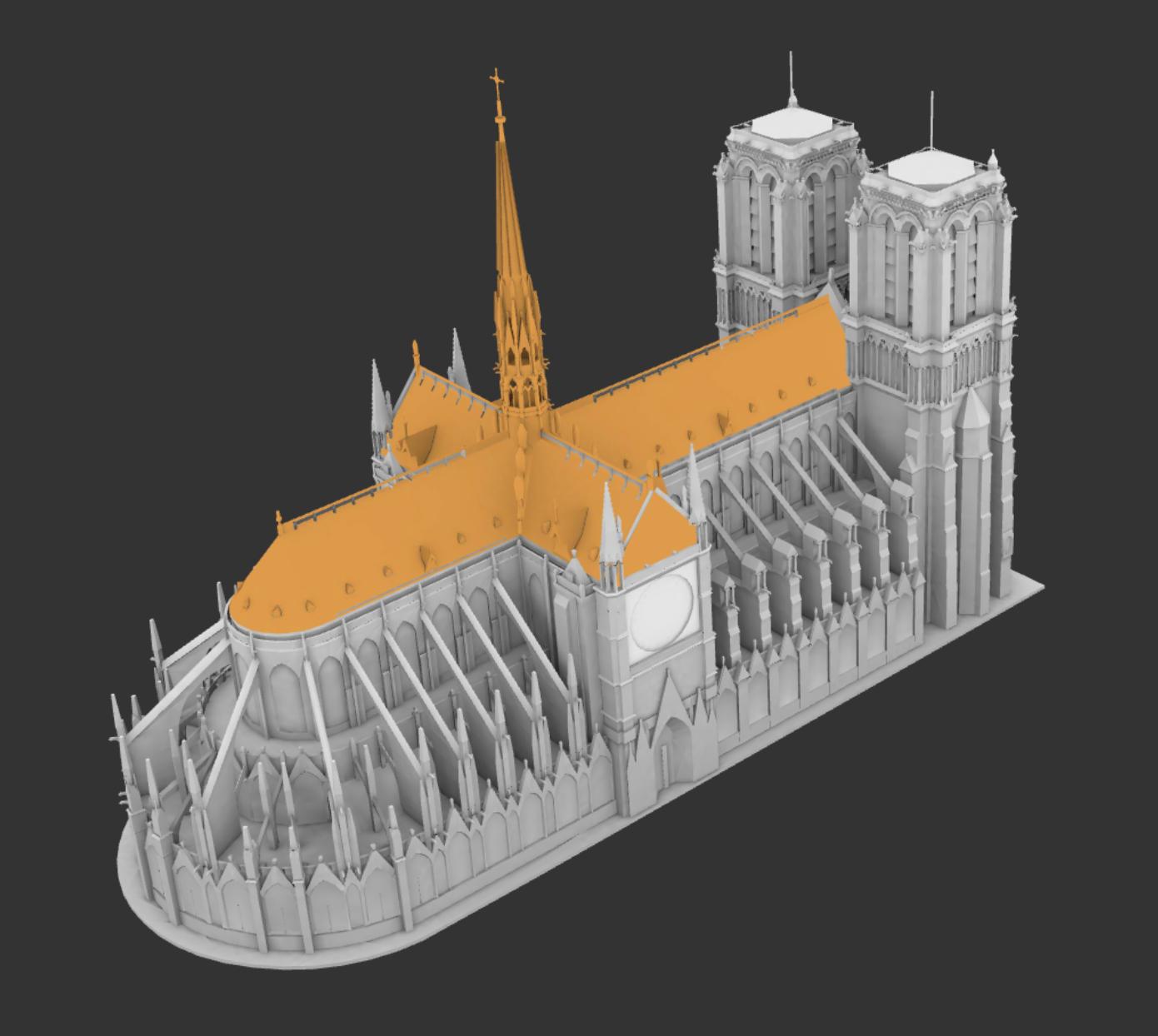 《可视化 | 10 张 3D 建模图还原「巴黎圣母院」火灾细节》