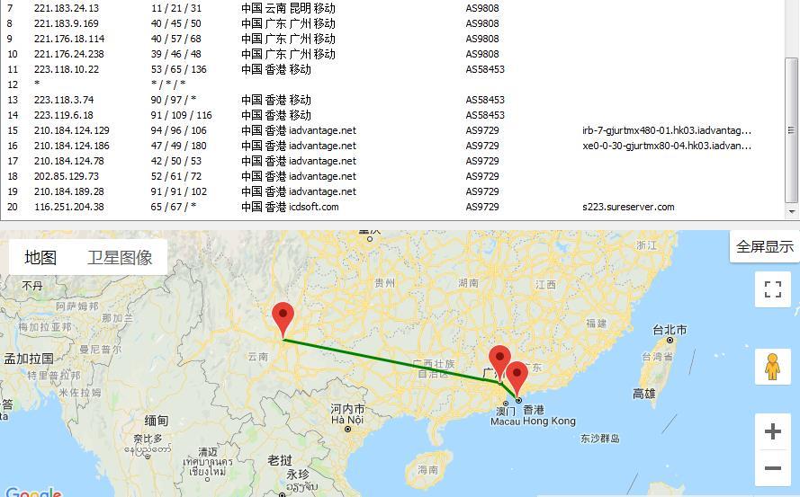 ICDSoft香港虚拟主机trace测试图
