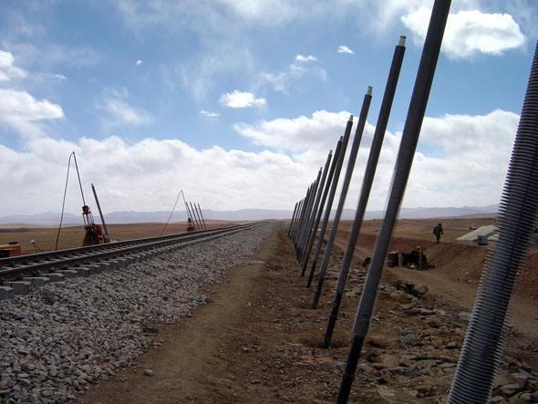 青藏铁路一侧的热棒
