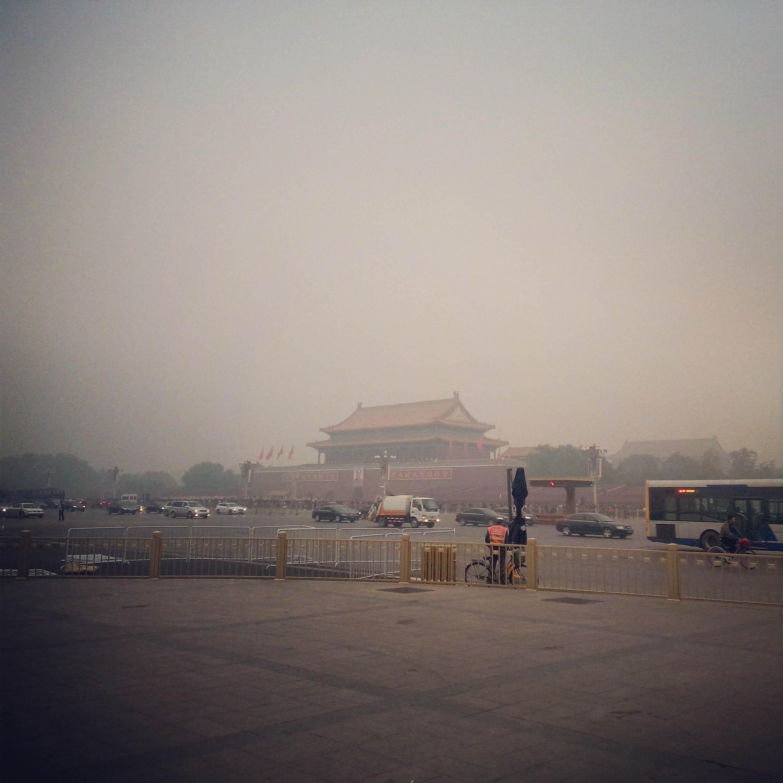雾霾中的天安门
