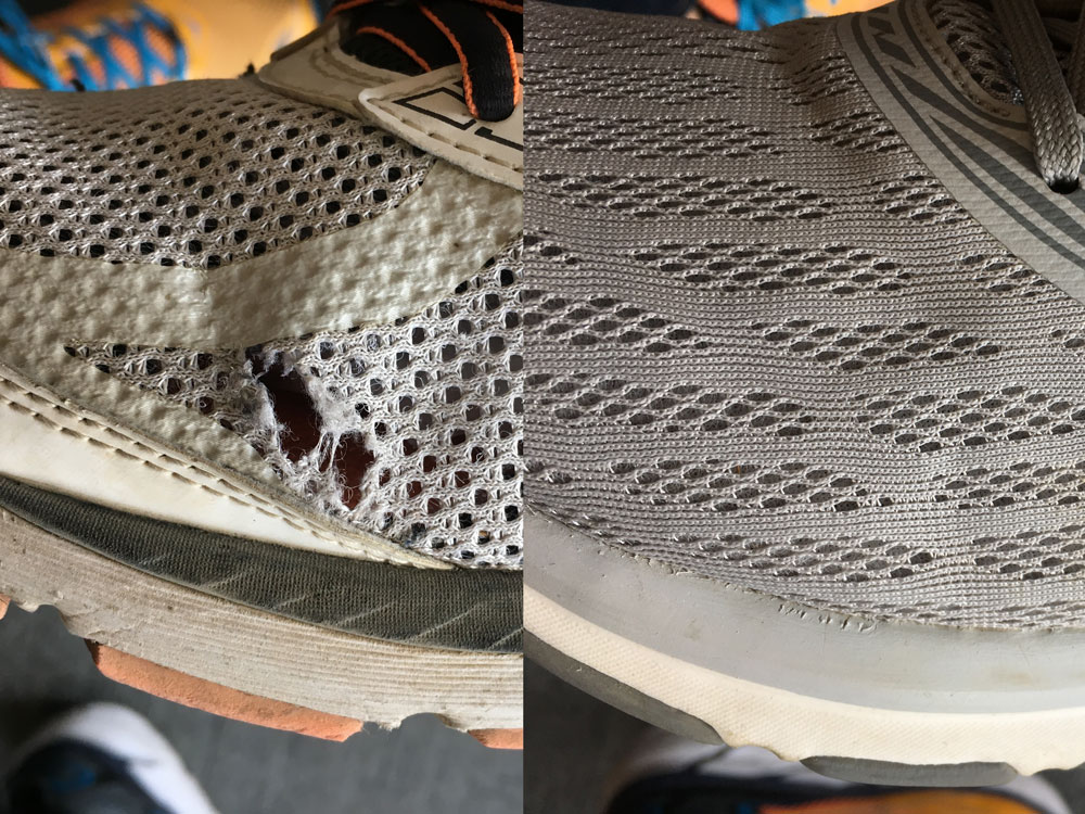 鞋面编织面料对比