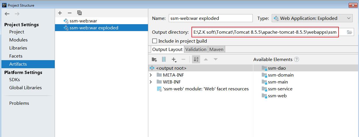 修改输出目录为本地Tomcat下webapps.png